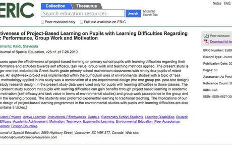 ERIC - The Effectiveness of Project-Based Learning on Pupils with Learning Difficulties Re