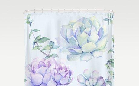 Wonderful Succulents Light Blue Shower Curtain