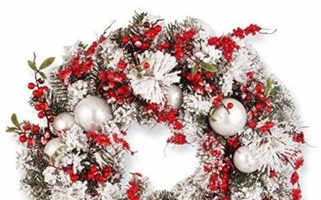 Amazon.com: National Tree 24 Inch Christmas Wreath with Red and White Ornaments (RAC-J501X