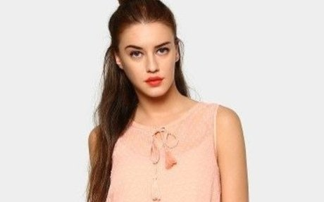 Antigravity Women Coral Orange Regular Fit Sheer Top Rs 780