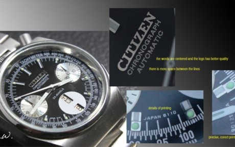 How to spot a Fake dial – Citizen Bullhead 67-9356