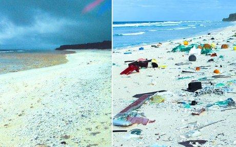 Pristine paradise to rubbish dump: the same Pacific island, 23 years apart