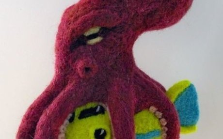 felted octopus attacking submarine