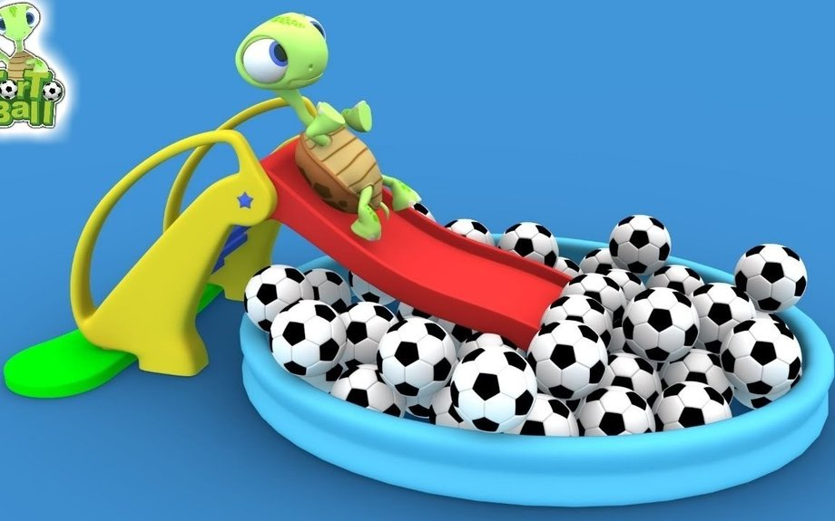 LEARN BALLS Turtle Slide playground with Soccer Ball Pool For Children and Kids | Torto Ba