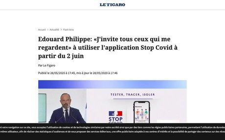 Edouard Philippe: «J'invite tous ceux qui me regardent» à utiliser l'application Stop C...