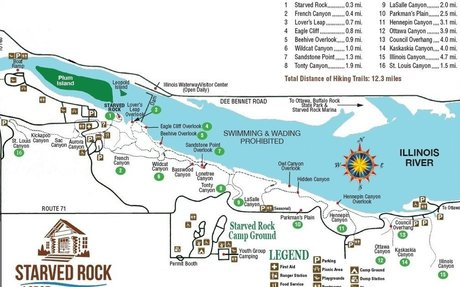 Starved rock map of Illinois River