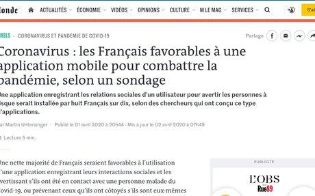 Coronavirus: les Français favorables à une application mobile pour combattre la pandém...