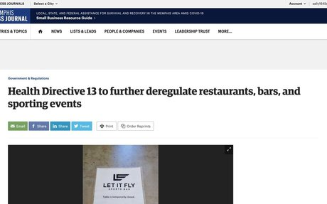 Health Directive 13 to further deregulate restaurants, bars, and sporting events