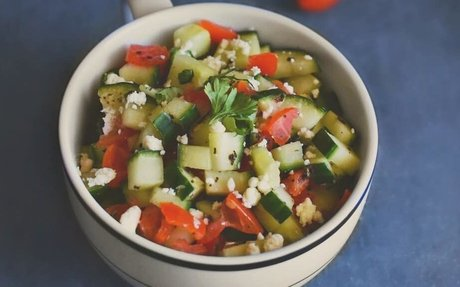 Quick Cucumber Tomato Zaatar Salad