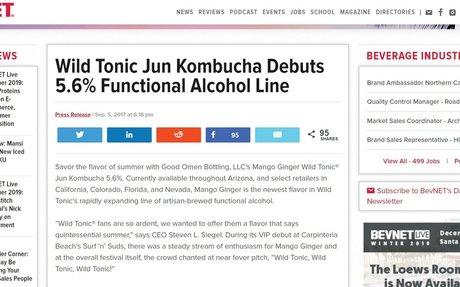 Wild Tonic Jun Kombucha Debuts 5.6% Functional Alcohol Line - BevNET.com