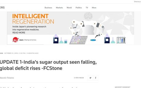 India's sugar output seen falling, global deficit rises