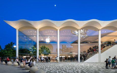 DESIGN // Wavy White Concrete Roof Tops Foster + Partners' Aventura Apple store In Miami