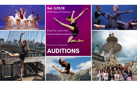 Denton City Contemporary Ballet ANNUAL AUDITIONS MAY 18TH!