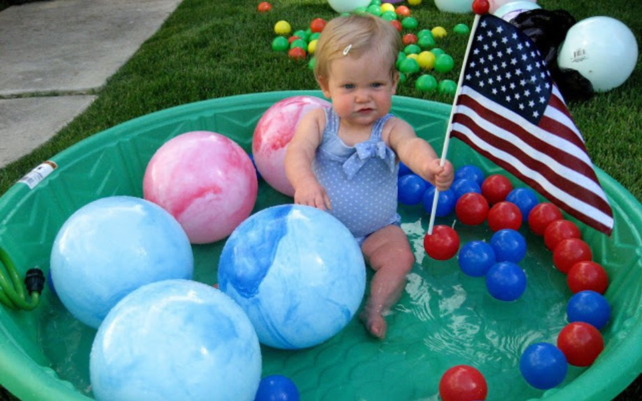 Red and Blue Baby Pool Ball Play