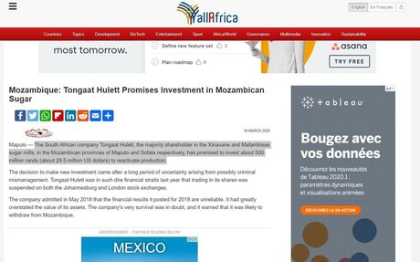 Mozambique: Tongaat Hulett Promises Investment in Mozambican Sugar
