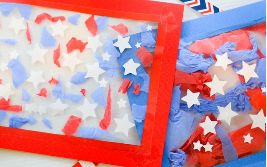 Patriotic Suncatcher Kids Craft for Fourth of July