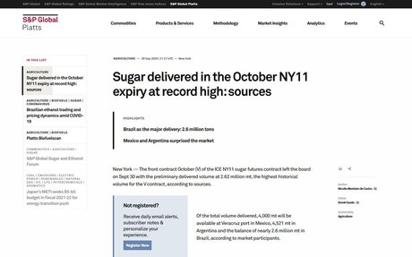 Sugar delivered on the ICE #11 October expiry at record high