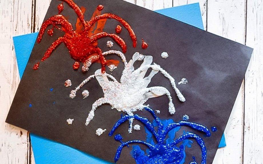 Patriotic Firework Handprint Craft