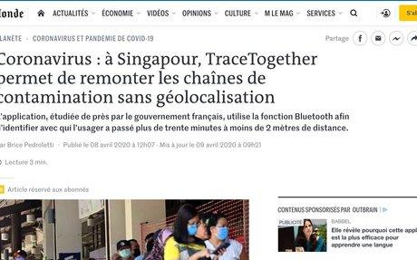 Coronavirus: à Singapour, TraceTogether permet de remonter les chaînes de contaminatio...