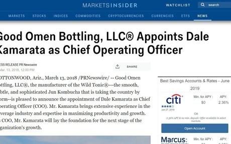 Good Omen Bottling, LLC® Appoints Dale Kamarata as Chief Operating Officer | Markets In...