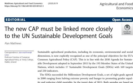 The new CAP must be linked more closely to the UN Sustainable Development Goals