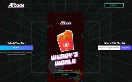Wendy's sponsors mobile games in Giphy's new digital arcade