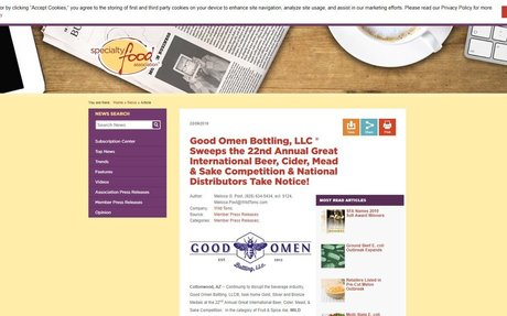 Good Omen Bottling, LLC ® Sweeps the 22nd Annual Great International Beer, Cider, Mead & Sake Competition & National Distributors Take Notice!
