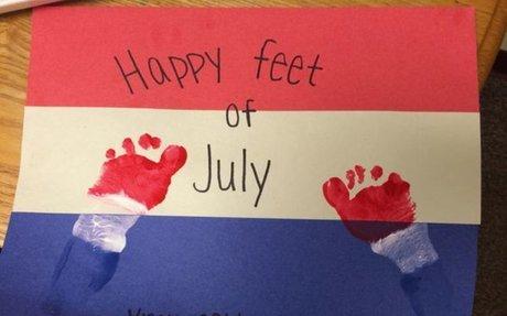 Happy Feet of July Footprint Art