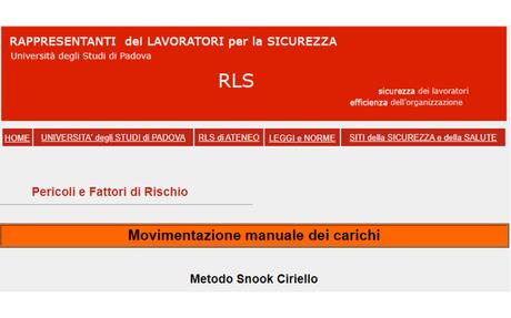 Pericoli e Fattori di Rischio - Movimentazione manuale dei carichi -Metodo Snook Ciriello