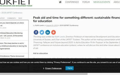 Peak aid and time for something different: sustainable financing for education