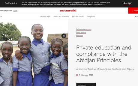 Private education and compliance with the Abidjan Principles, ActionAid,  February 2020