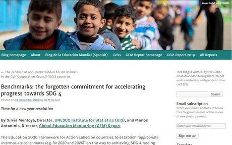 Benchmarks: the forgotten commitment for accelerating progress towards SDG 4