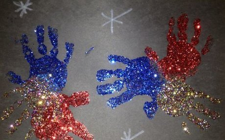 Patriotic Glitter Handprints