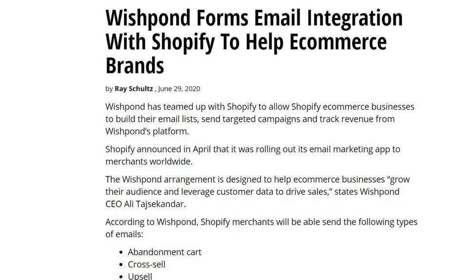 Wishpond Forms Email Integration With Shopify To Help Ecommerce Brands